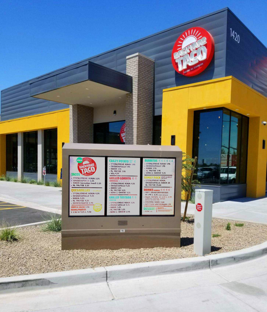 backyard taco itsenclosures digital signage drive thru viewstation