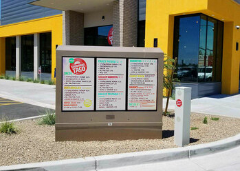 backyard taco digital signage menu board itsenclosures viewstation