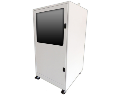 Freestanding Computer Enclosure with Keyboard Tray shelf icestation itsenclosures front of cabinet