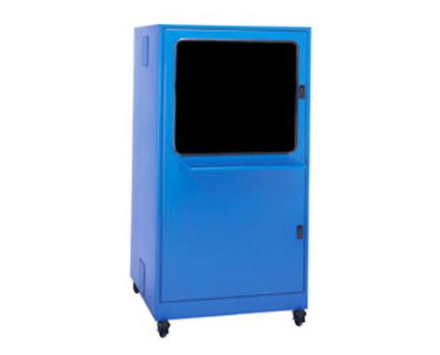 Freestanding Computer Enclosure with Keyboard Tray shelf icestation itsenclosures blue