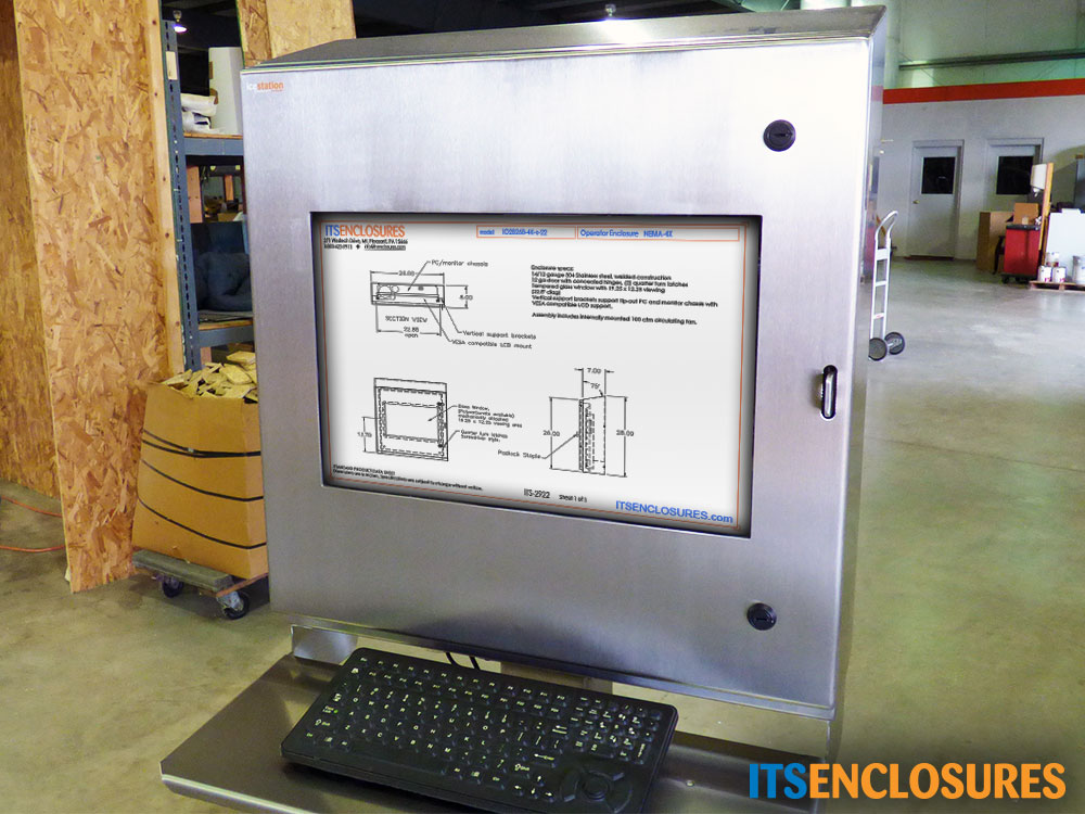 monitor enclosure nema 4x stainless steel keyboard tray