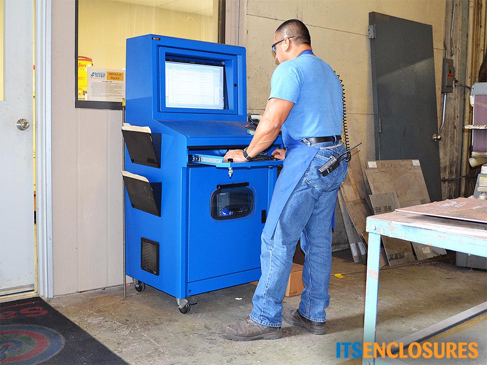 IceStation TITAN pc computer enclosure ITSENCLOSURES industrial heavy duty enclosure with hinged printer door