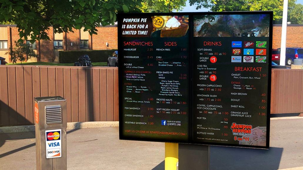 digital signage kewpee burgers viewstation outdoor monitors itsenclosures